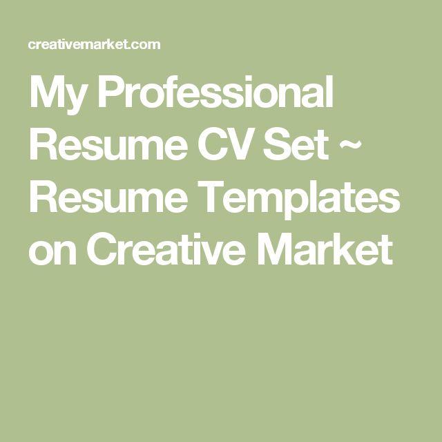 My Professional Resume CV Set Professional resume and Resume cv