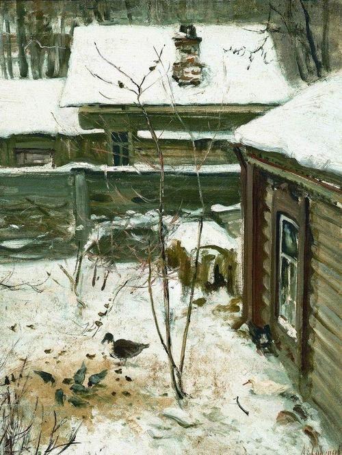 Alexei Savrasov (1830 - 1897)  Courtyard winter