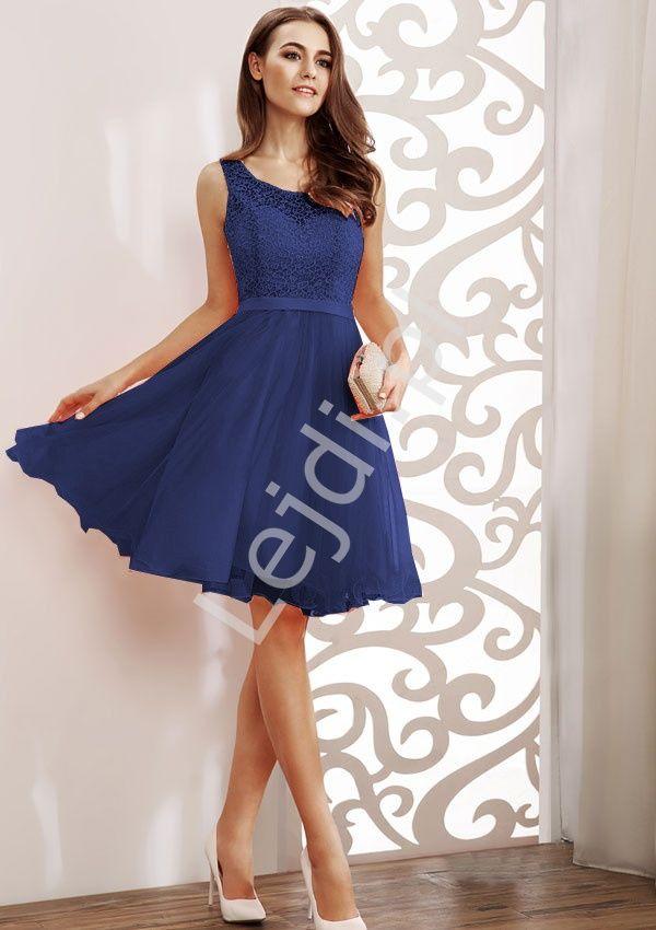 Navy simple dress. Beautifull prom dress. Granatowa sukienka na wesele| sukienki z koronką  www.lejdi.pl
