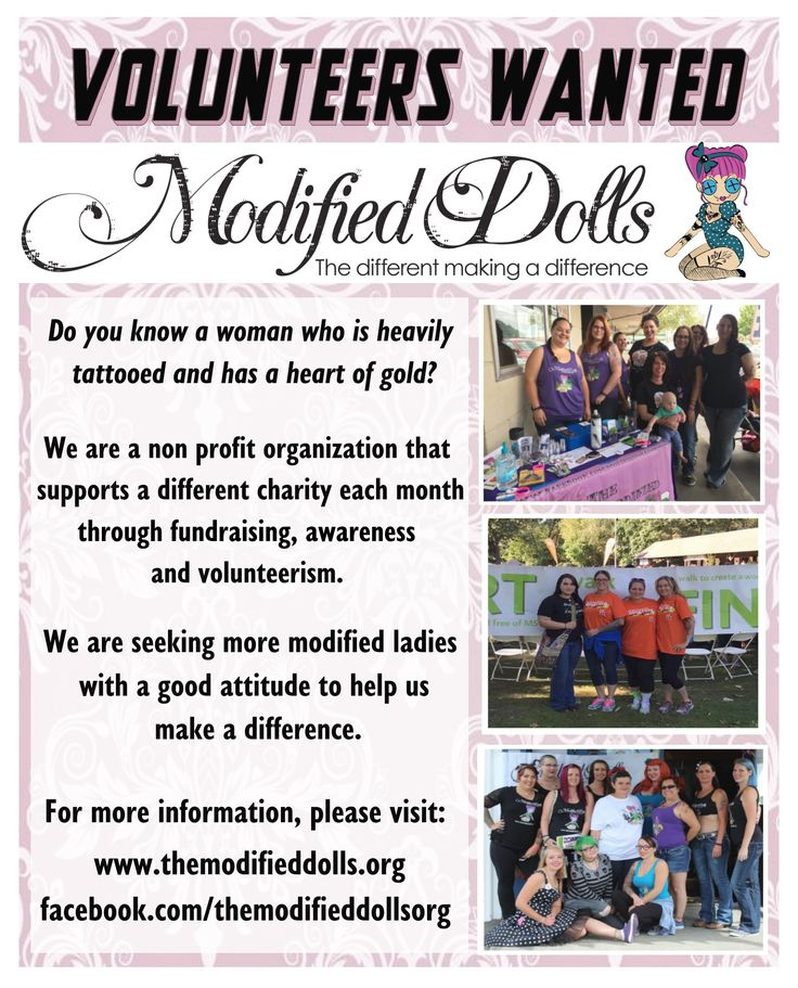 Calling all modified women, The Modified Dolls are recruiting new members in your area! We are seeking more modified ladies with a good attitude to help us make a difference! :) For more information and to apply, visit: http://www.themodifieddolls.org/be-a-doll/ OR https://www.facebook.com/notes/the-modified-dolls/how-to-apply/459422217470309  #ModifiedDolls #ModifiedWomen #recruiting #tattoos #piercings#acceptance #ChallengingStereotypes #SupportingCharities #volunteering#fundraising