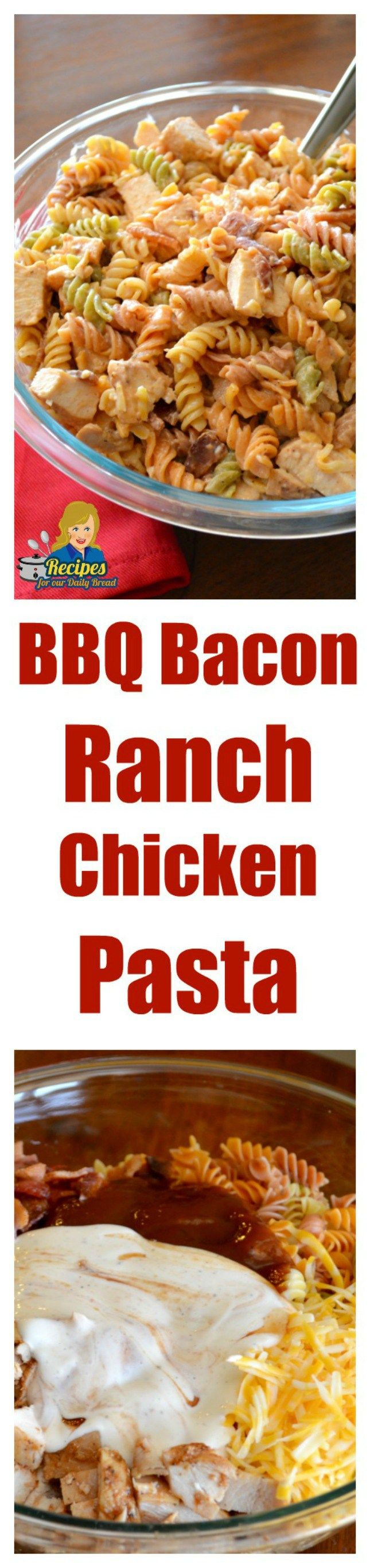 This BBQ Bacon Ranch Chicken Pasta includes, chicken, bacon, barbecue sauce, cheese, ranch dressing, tomatoes, and pasta which go great together.  It is definitely a family favorite easy meal.