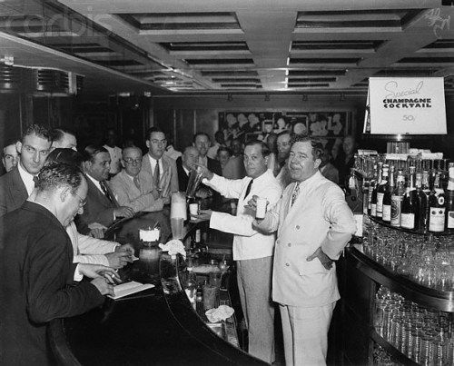 Huey Long behind the bar, New Orleans 1940's. The atmosphere of the 1940's in New Orleans.