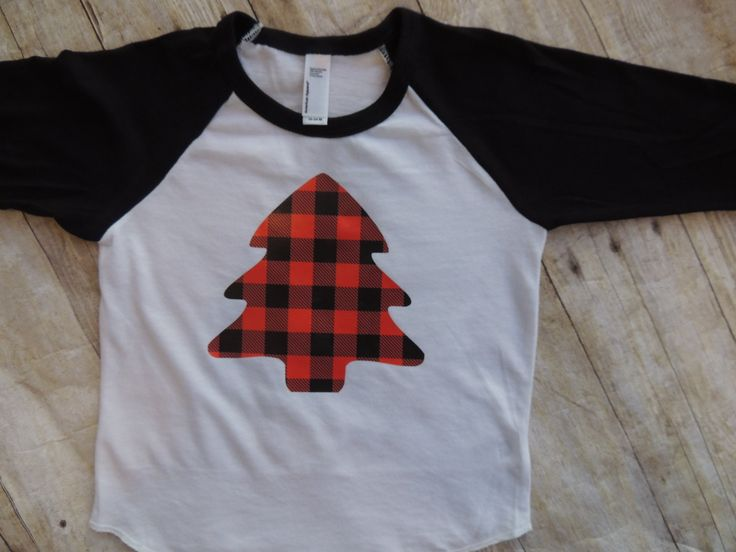 Christmas shirt, baby boy, toddler boy, first christmas, buffalo plaid, christmas tree, tree, plaid. raglan, baseball tee, shirt outfit by Our5loves on Etsy