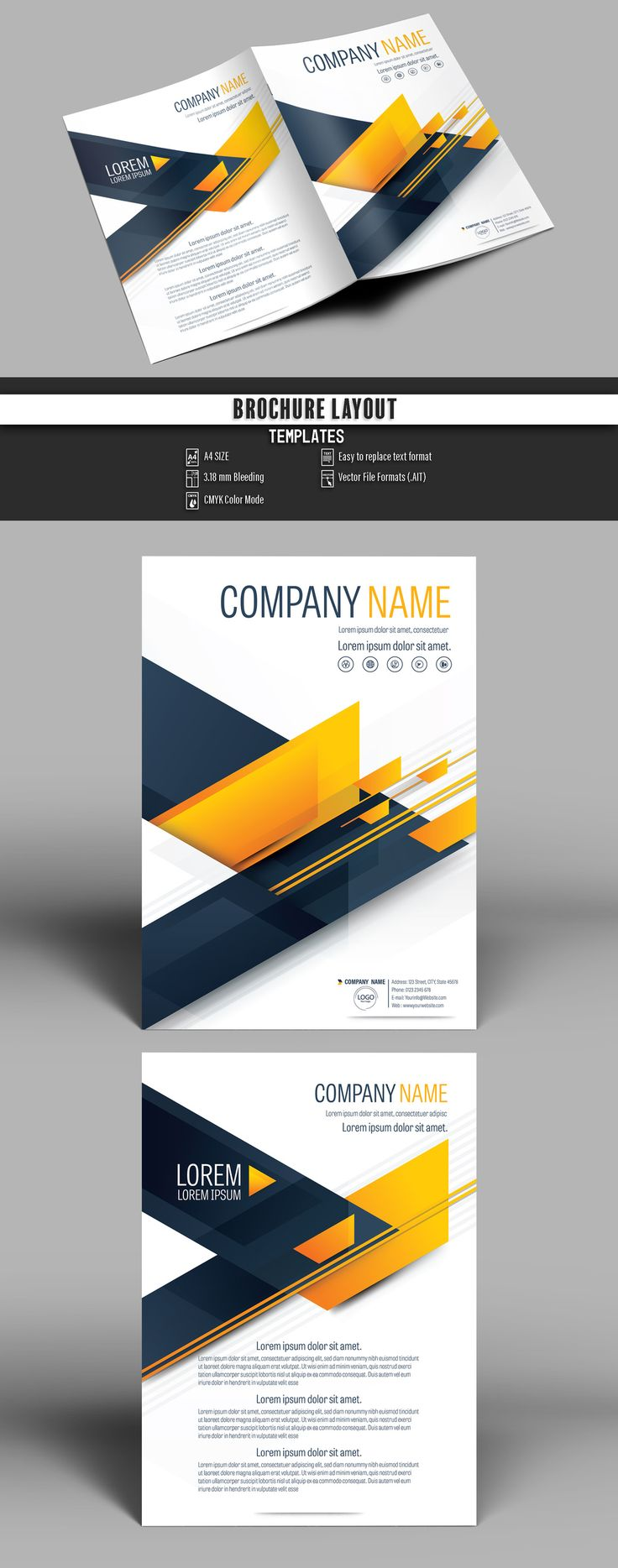 Brochure Cover Layout with Dark Blue and Orange Accents 1 - image   Adobe Stock #Brochure #Business #Proposal #Booklet #flyer #template Design layout   Brochure template   Brochure design template   Flyers   Template   Brochures   Flyer Background   Background design   Business Proposal   Proposal Design   Booklet   Professional   Professional - Proposal - Brochure - Template