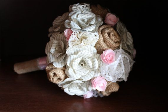 Burlap lace and book page bridal bouquet by CraftingbyKnight, $120.00