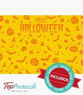 Posarás con calabazas, calaveras y sangre derramada en esta noche de Halloween con este photocall fantasmagórico.