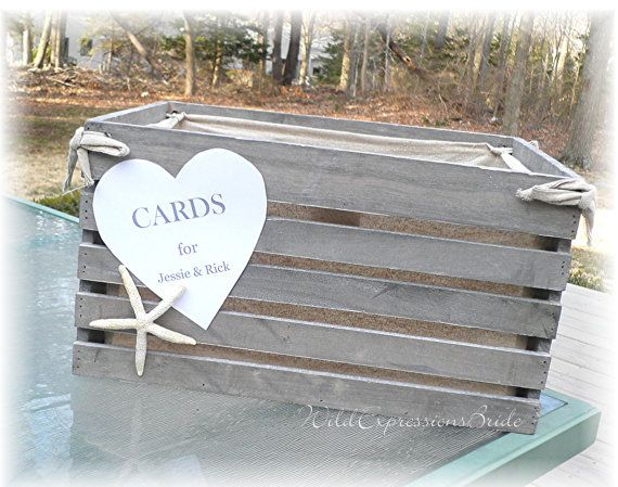 RUSTIC Beach Themed Wedding Card Box CRATE  Lined STARFISH Customize on Etsy, $63.95