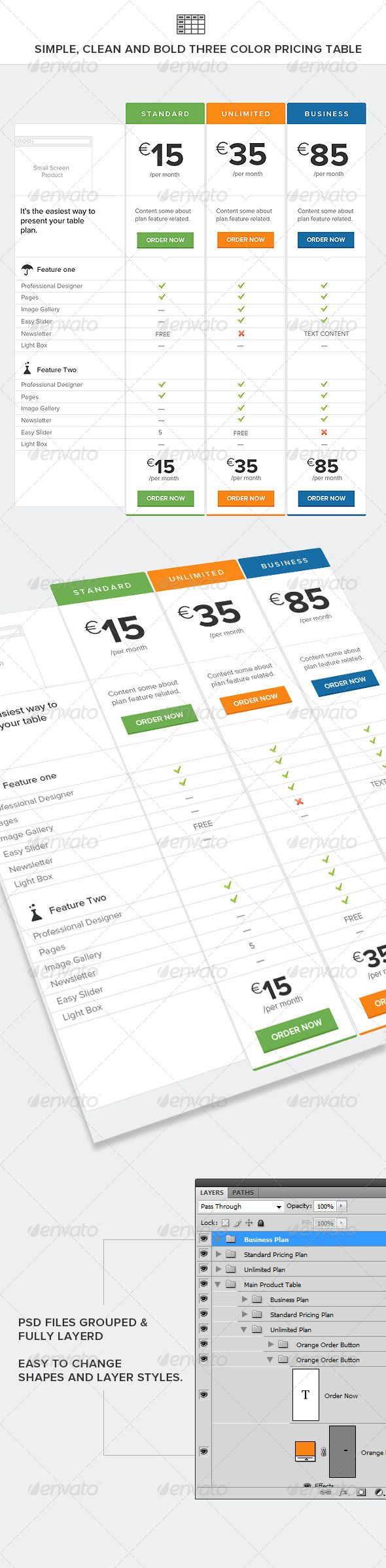 Simple, Clean and Bold Three Color Pricing Table  #GraphicRiver         Clean and bold table PSD Files are fully editable and very well organized, layer name. All elements are shapes, so you can resize them easily without losing quality.  Google Fonts  .google /fonts/specimen/Lato     Created: 30April13 GraphicsFilesIncluded: PhotoshopPSD HighResolution: Yes Layered: Yes MinimumAdobeCSVersion: CS4 PixelDimensions: 1300x2657 Tags: blue #clean #feature #green #orange #ordernow #pricingtable…