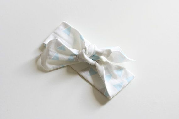 Organic Cotton Headband  Triangles Blue and Grey  by raenne, $12.00