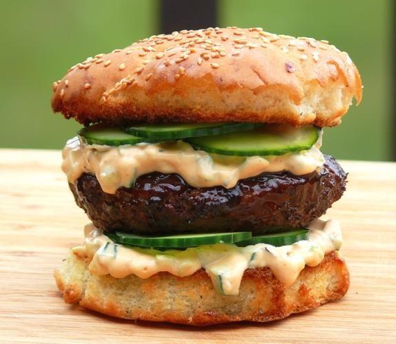 Hoisin Burger with Sriracha Relish from NoblePig.com