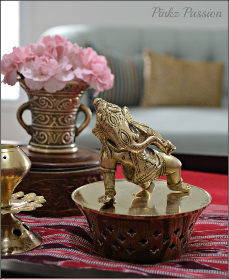 Indian décor, home décor, brass collections, baby Ganesha, Home décor Vignettes