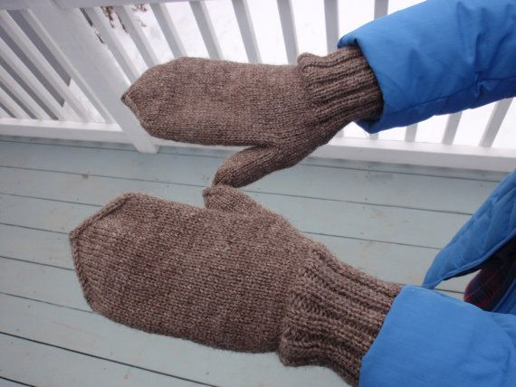Mittens Gloves Hand Knitted Winter Warm Wool Sise M  L by olinnell