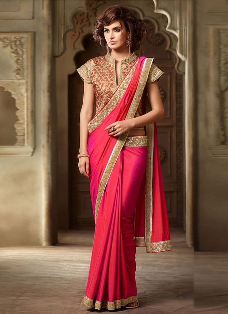 Hot pink silk saree will make you look highly stylish and graceful. The embroidered and patch border work within the dress comes with matching blouse.