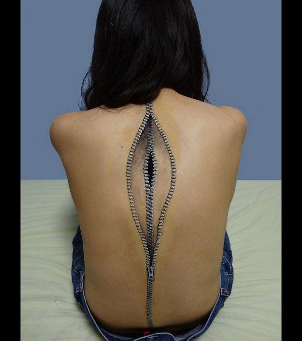 Illusion d'optique en body painting de Choo San : Une peinture bluffante // DR Photos