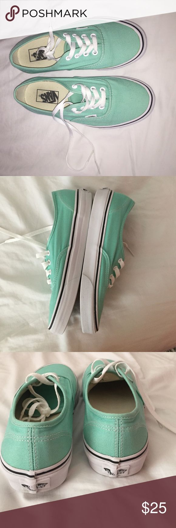 Very gently used mint Vans! Beach glass color, goes well with many outfits! Give me an offer! Vans Shoes Sneakers