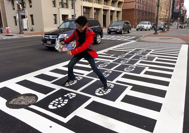 Graham Coreil-Allen, <em>Hopscotch Crosswalk Colossus</em> (2013), Baltimore. Photo: Graham Coreil-Allen.