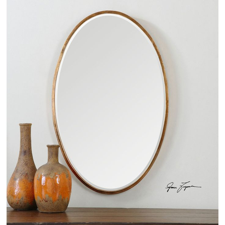 Herleva Oval Antique Gold Oval Mirror Uttermost Oval Mirrors Home Decor