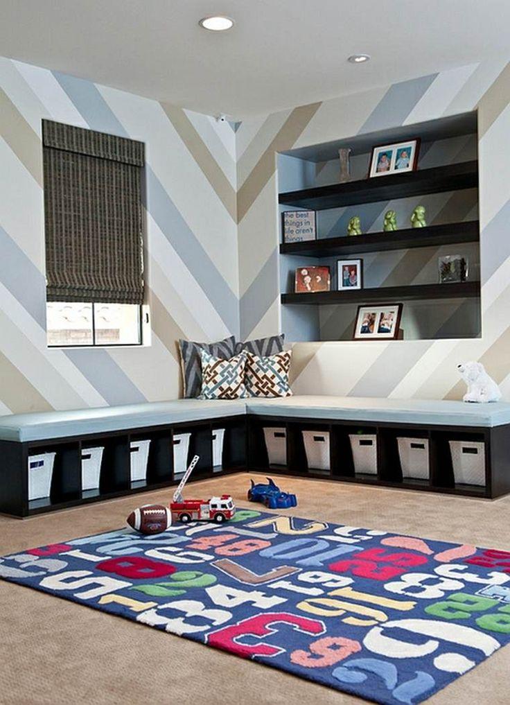 meuble de rangement pour salle de jeux enfant et banquette noire