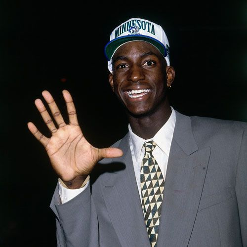 This photo is from the 1995 NBA Draft in Toronto just after the Minnesota Timbewolves selected Kevin Garnett with the fifth overall pick. Garnett became the face of the franchise over the next decade, leading the Wolves to their lone eight playoff appearances.