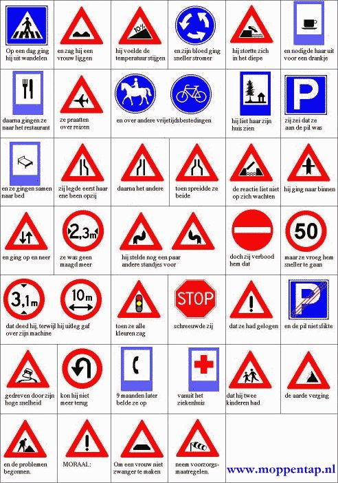 Moppentap: Grappige plaatjes -Verkeersborden