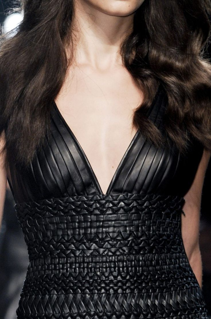 Black dress with pleated & woven leather bodice; fashion details // Gianfranco Ferre Spring 2011