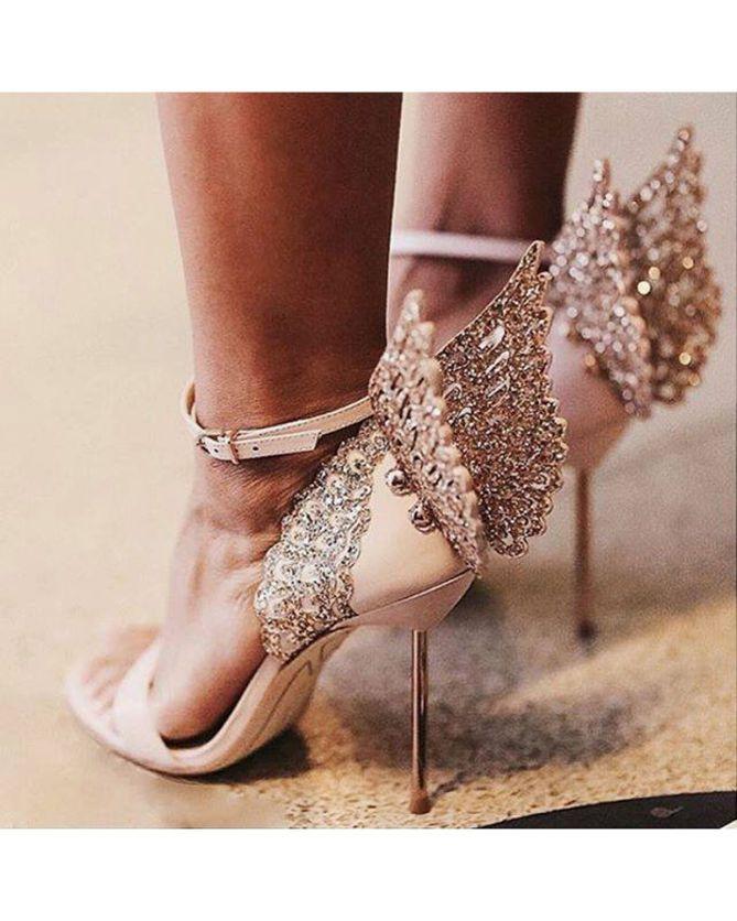 SOPHIA WEBSTER Evangeline Glitter Angel-wing Sandals  e8ce69febe5b