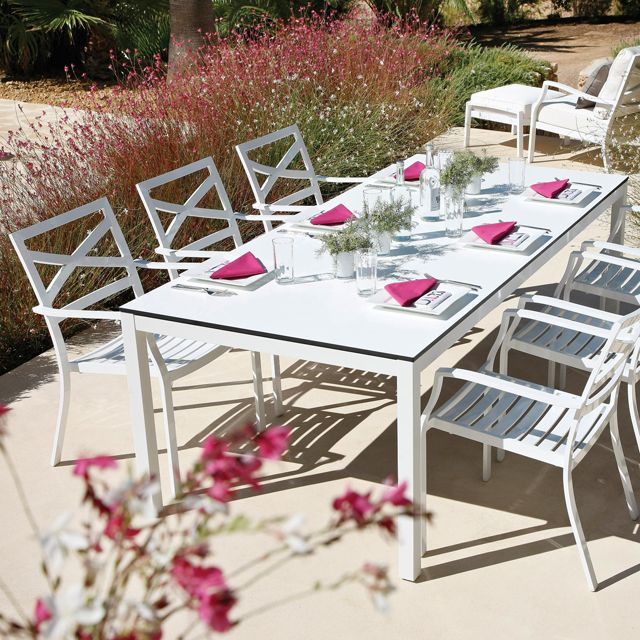 Roma white aluminium dining setting by Gloster http://www.coshliving.com.au/outdoor-brands/gloster/roma/