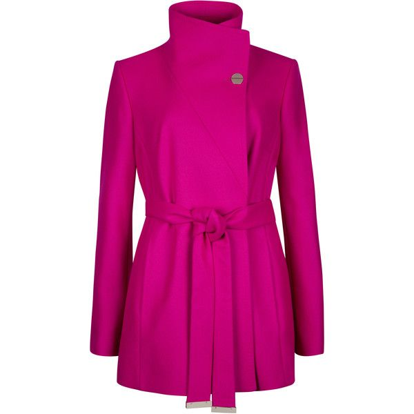 Ted Baker Short Wrap Coat featuring polyvore fashion clothing outerwear coats deep pink ted baker coat belted wrap coat belted coat ted baker pink coat