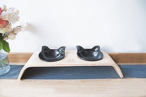 Comedero con dos cuencos para gatos y perros, madera y cerámica.