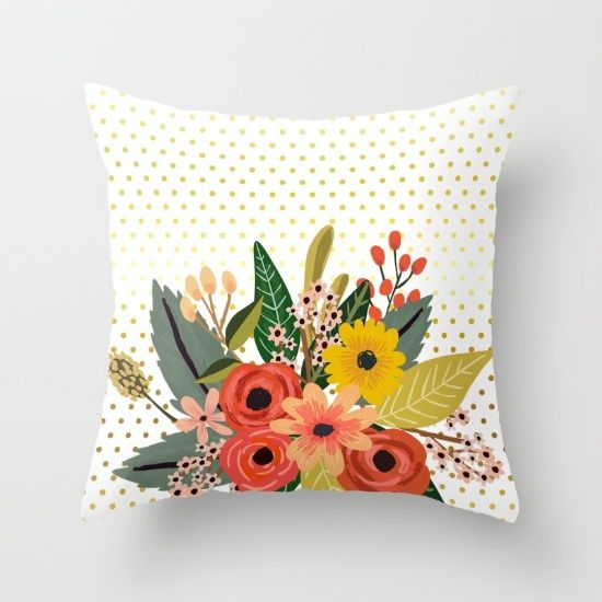 #flowersbouquet #floral #pillow #polkadots #gold Available in different #giftideas products. Check more at society6.com/julianarw