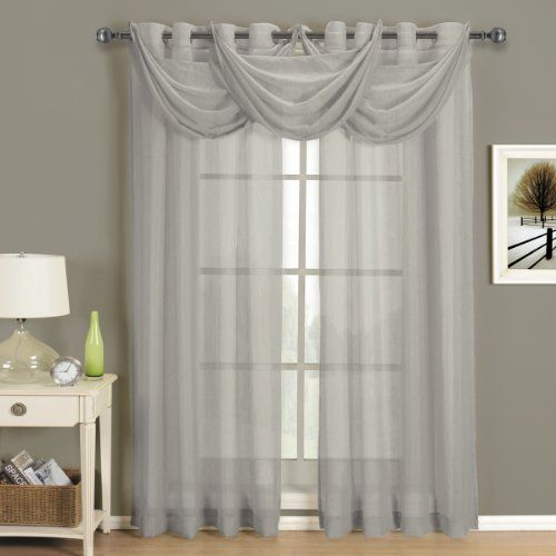 Abri Grommet Crushed Sheer Curtain Panel Grey 24 Inch Long