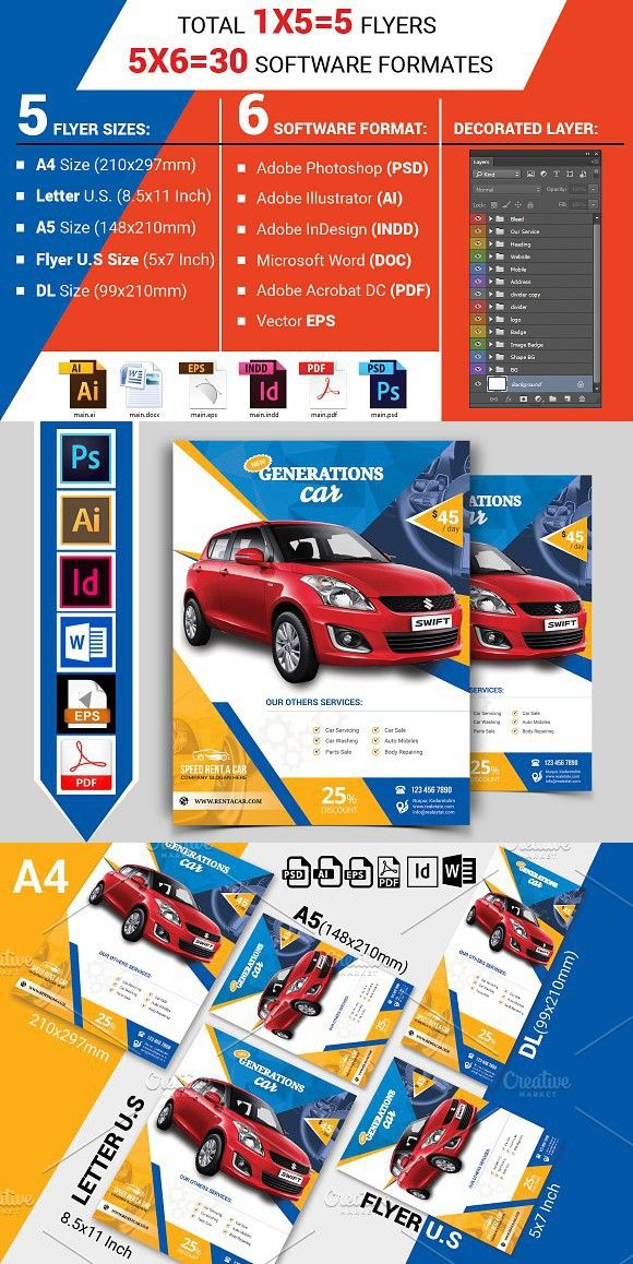 rent a car flyer template vol 01 flyer templates pinterest