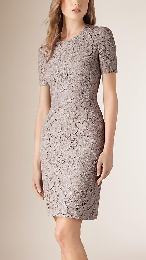 Gris pálido Vestido recto de encaje francés - Imagen 1