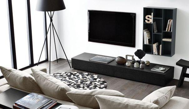 les 25 meilleures id es de la cat gorie meuble tv mural sur pinterest t l murale unit s. Black Bedroom Furniture Sets. Home Design Ideas