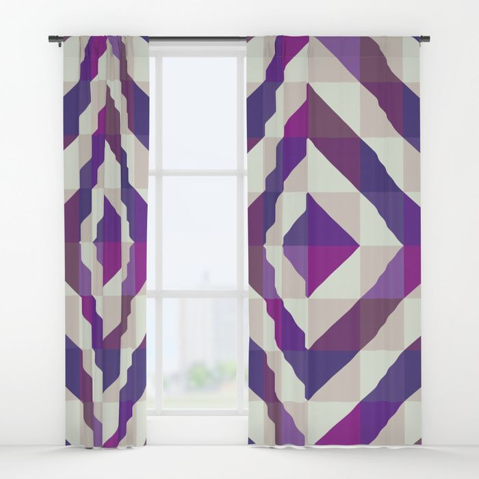 Patchwork Purples Window Curtains by Fimbis  Ultra violet, purple, interior design, home decor, fashionista, symmetry,