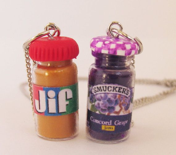 BFF SET PB and J necklaces peanut Butter Jelly by Alittleawesome