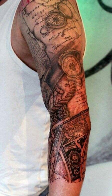 Men's dope idea os a sleeve tattoo