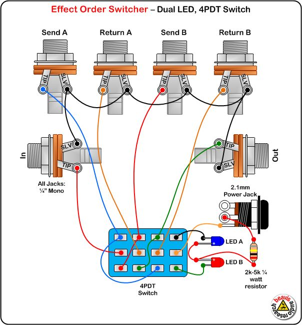 True Bypass Looper LED DPDT Switch Wiring Diagram Effects
