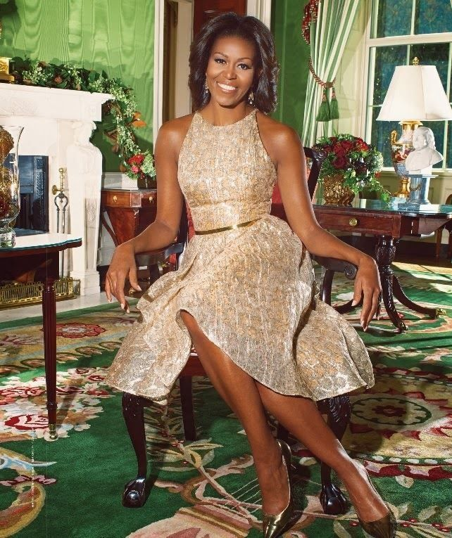 First Lady, Michelle Obama in the green room; my favorite color.  What a Beautiful photo.