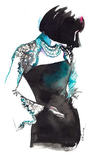 Chanel Fashion Watercolor Illustration Original by LanasArt