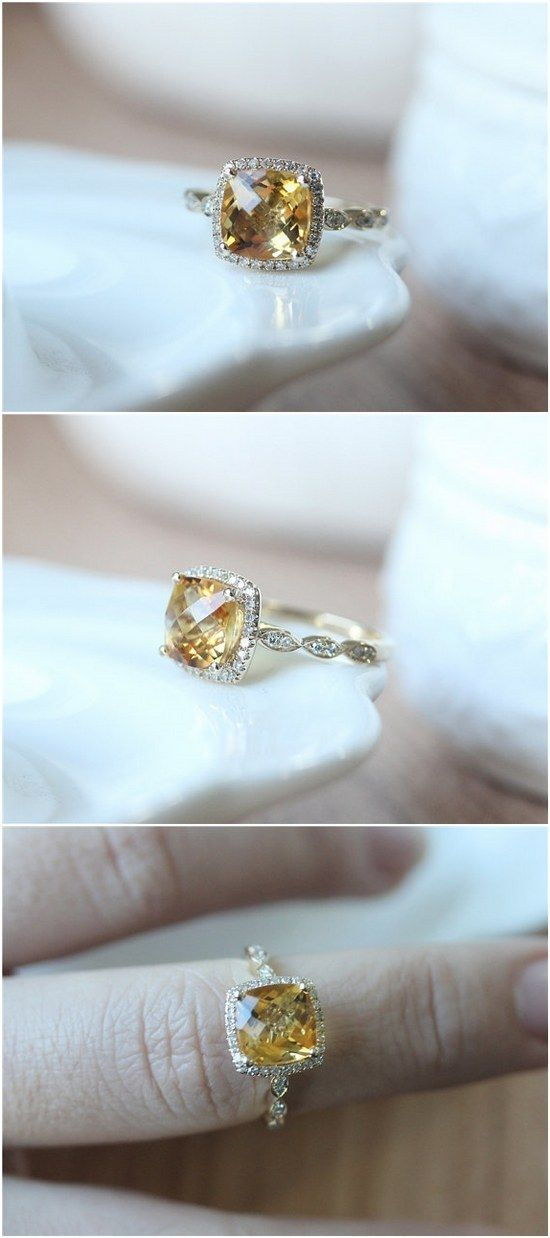 Cushion Cut Citrine Ring 14K Gold Citrine Engagement Ring / http://www.deerpearlflowers.com/inexpensive-engagement-rings-under-1000/2/