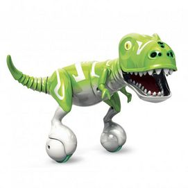 A robotic dinosaur that balances on 2 wheels and provides life-like movements with its head and tail. In autonomous mode kids interact with his sensors and he responds by chomping, chasing and whipping its tail and more. Kids can also use the control pod to make him follow their commands.