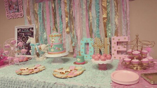 Mint pink gold carousel 1st birthday party