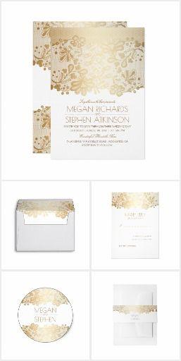 Gold Lace Elegance Gold Floral Lace Invitation Suite #weddingideas  #weddinginvitations  #lacewedding #rusticwedding