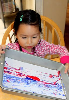 too hot outside? explore painting with marbles inside!  #kids #art