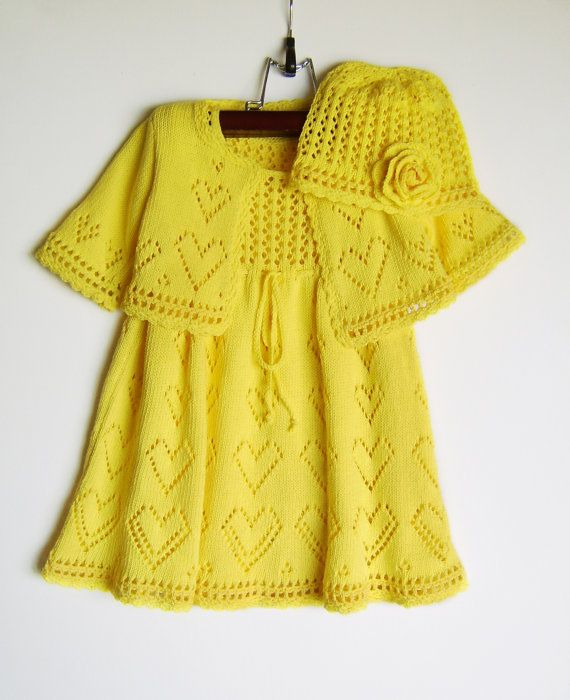 YELLOW knitted dress with bolero and hat..love love love by Sasashandcrafts on etsy