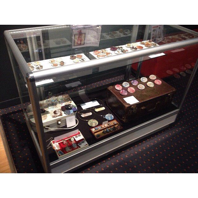 the #jewellery case at my #exhibition filled with all sorts of goodies. #resin #handmade #fabricbroaches #fp