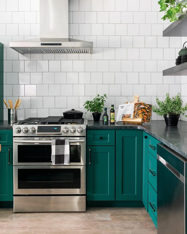bold emerald green kitchen cabinets in modern kitchen makeover love the square white tile o on kitchen ideas emerald green id=20391