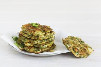 Zucchini Patties With Parmesan Cheese: Zucchini patties or pancakes with green onions.