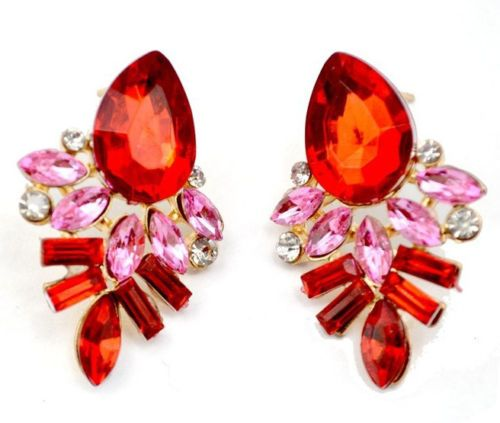 Hot-Attractive-New-Woman-Luxury-Red-Rose-Gold-Fashion-Stud-Earrings-Party